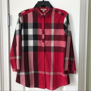 Burberry Brit Check Poplin Button Up Top
